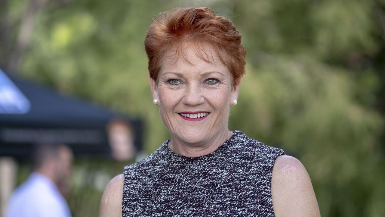 Pauline Hanson is seen speaking to a journalist after donating a marquee to the local Young Veterans organisation in Caboolture, Brisbane, Friday, May 18, 2018. (AAP Image/Glenn Hunt) NO ARCHIVING
