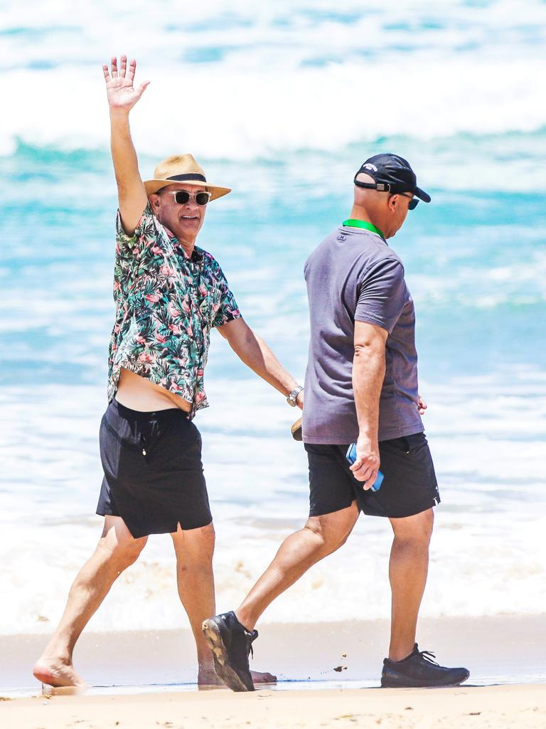Gold Coast. Tom Hanks enjoying a stroll along the beach during his visit earlier this year in Broadbeach on the Gold Coast. Picture: Nigel Hallett
