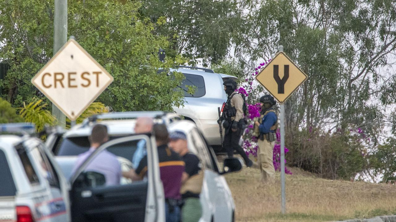 Specialist police attend a siege in Reservoir St, Gracemere