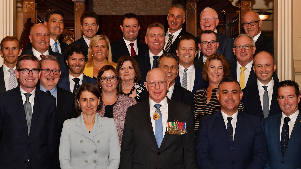 The NSW Cabinet in happier times with Premier Gladys Berejiklian during their swearing in by NSW Governor David Hurley in April 2019. Picture: Dean Lewins/AAP