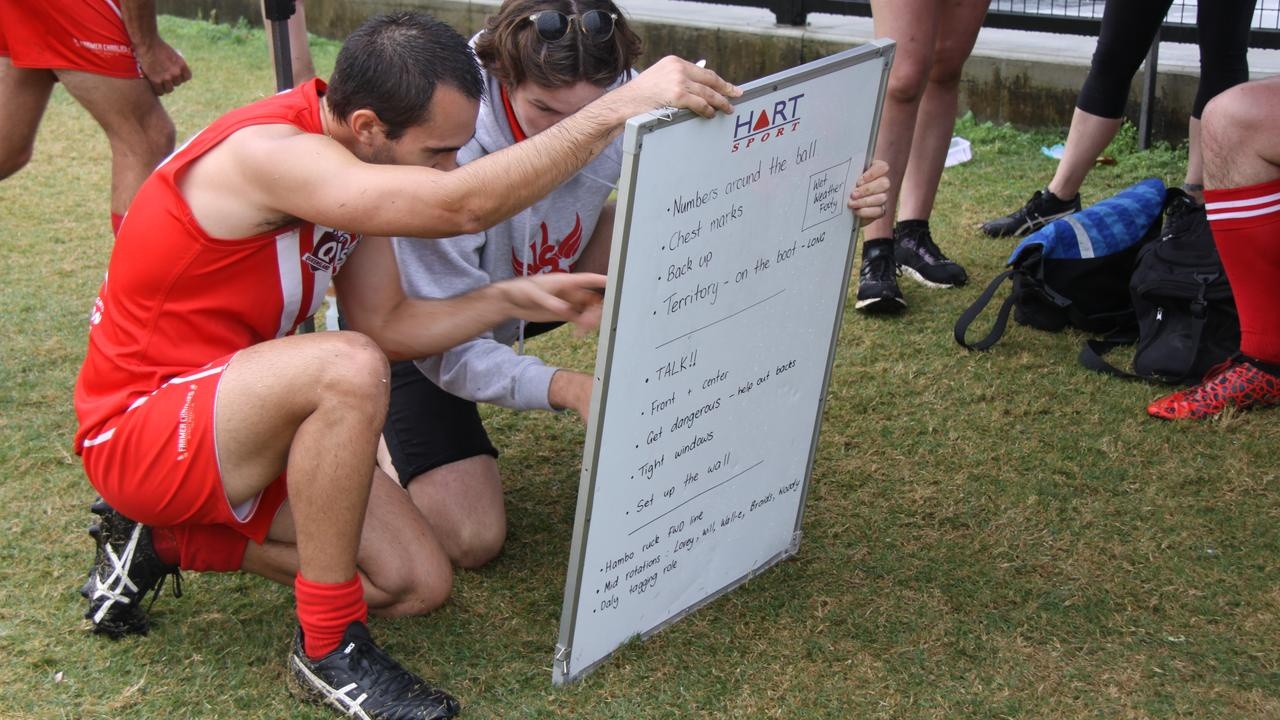 RESERVES VICTORY: Swans reserves coach Tim Whalan and Tom Standish check their winning tactics when the Lismore Swans played the Ballina Bombers at Oakes Oval on July 25, 2020. Photo: Alison Paterson