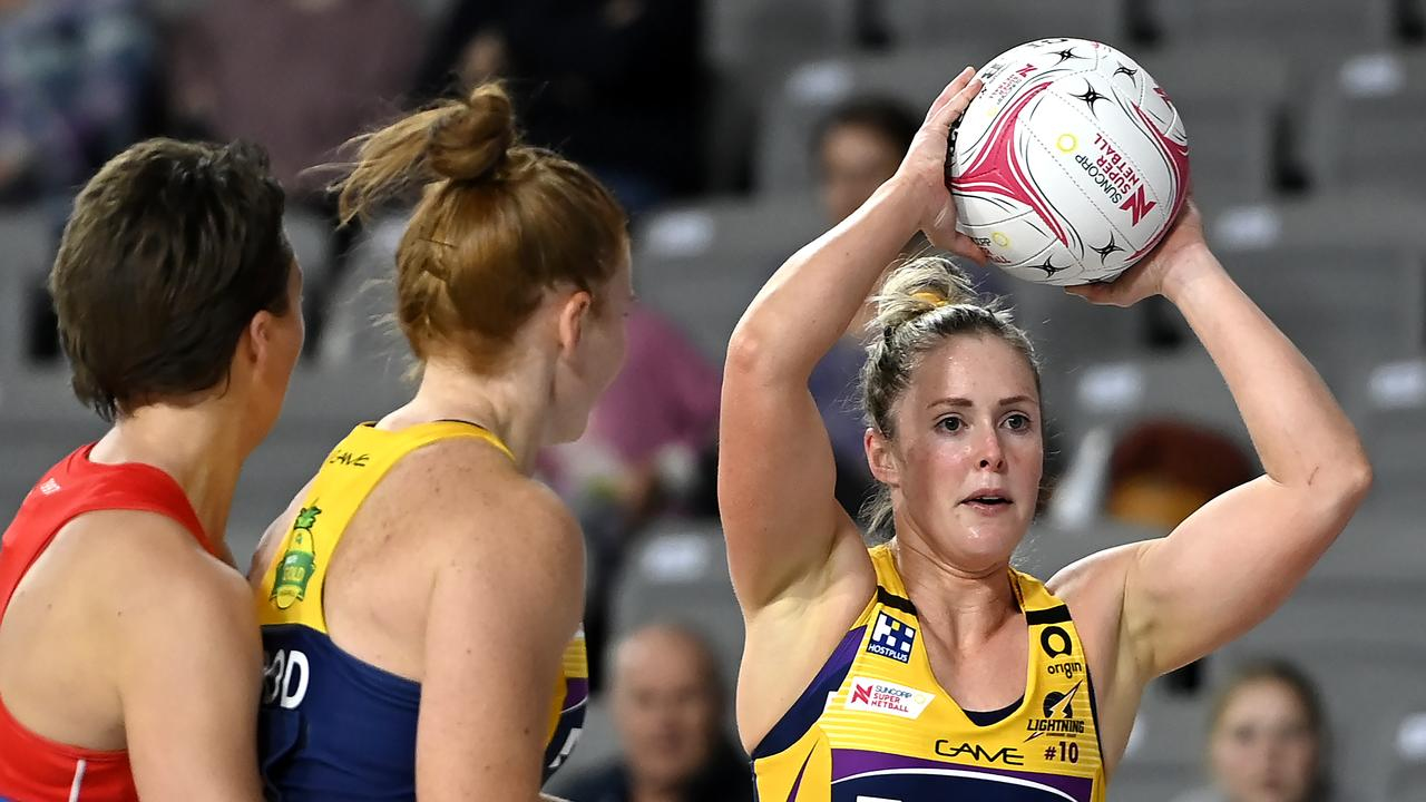 Laura Scherian of the Lightning looks to pass the ball during the round seven Super Netball match. Picture: Albert Perez/Getty Images