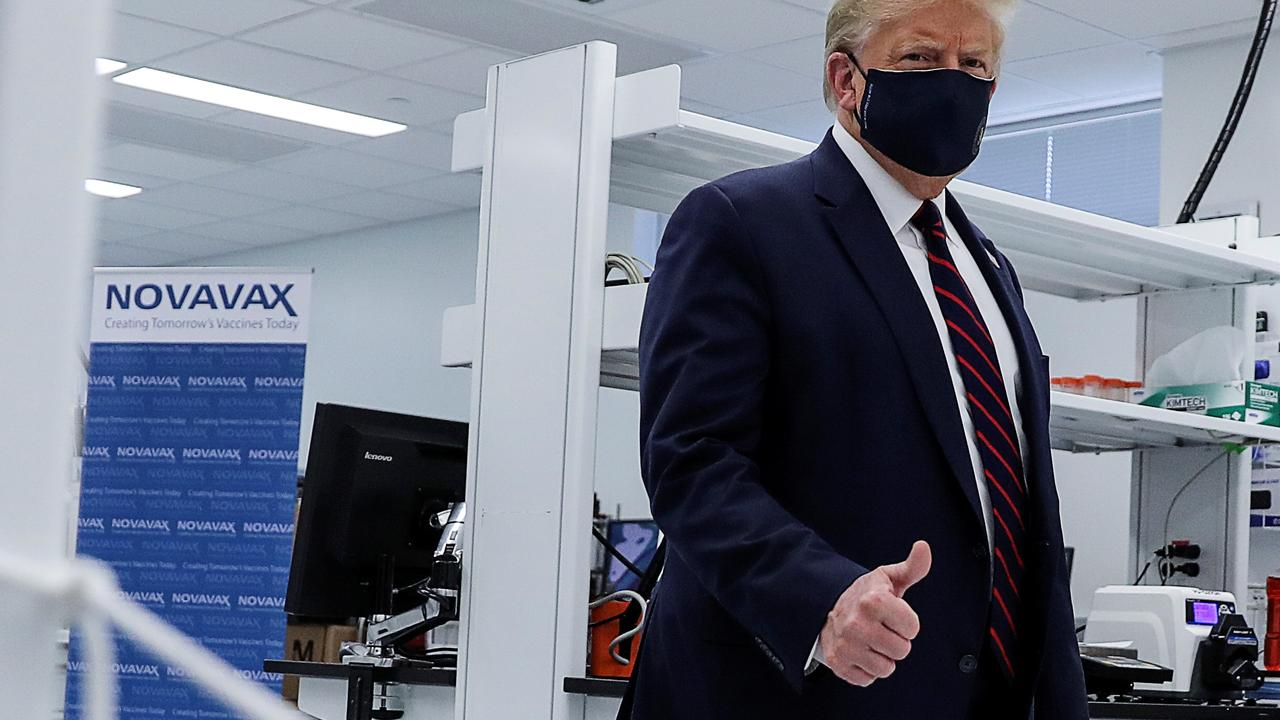 US President Donald Trump at a North Carolina pharmaceutical manufacturing plant where components for a potential coronavirus disease vaccine candidate Novavax are being developed. Picture: REUTERS/Carlos Barria.