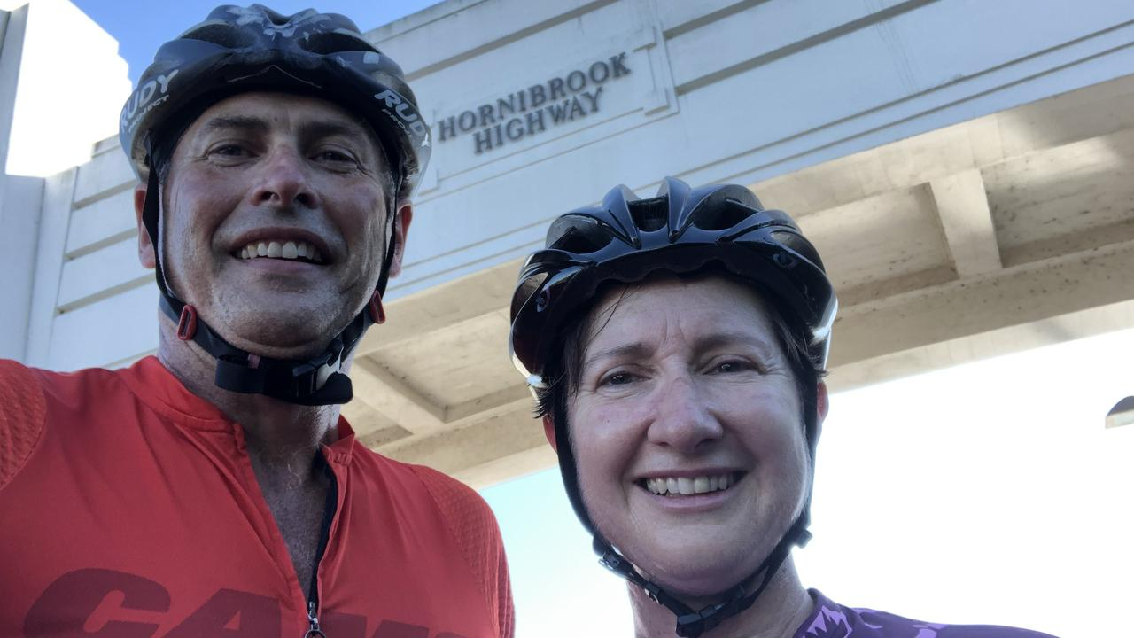 Keen cyclist Emma Thomas, pictured with her husband, has been appointed as Sunshine Coast Council's new CEO.