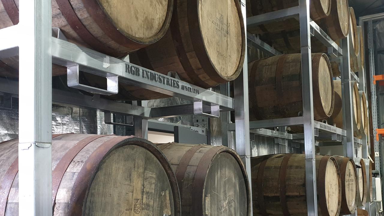 Barrels at Cape Byron Distillery.