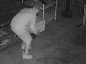 WATCH: Man lurking in shed at night helps himself to tools