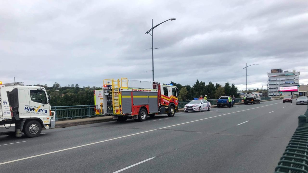 Police keep watch following a multi-vehicle crash on the David Trumpy Bridge on Thursday morning, which caused traffic disruptions.
