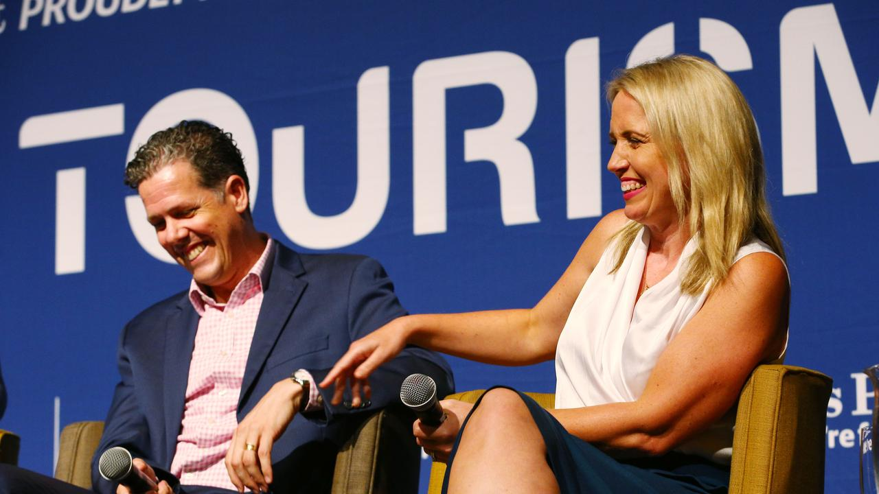 Tourism Tropical North Queensland CEO Mark Olsen and Queensland Minister for Tourism Kate Jones share a lighter moment on the panel at the Cairns Post Future Tourism lunch at the Cairns Convention Centre. PICTURE: BRENDAN RADKE