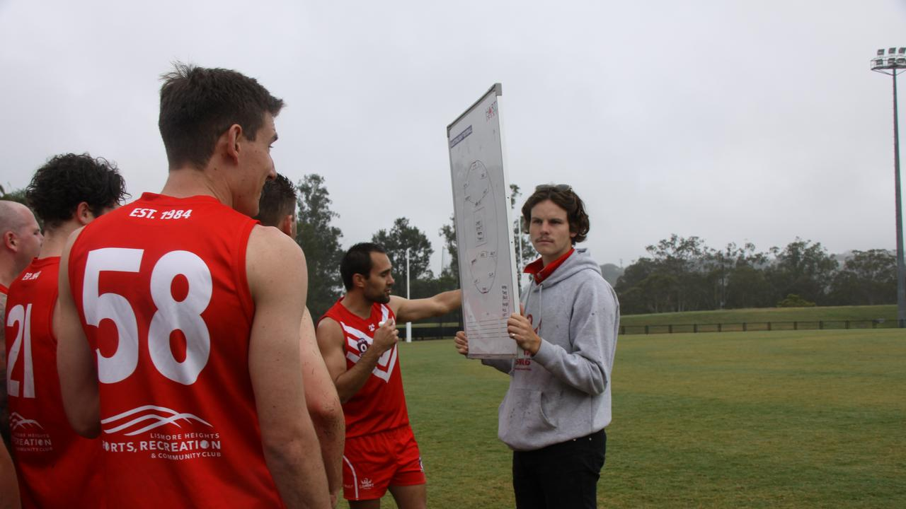PLAYING FAIR: When Lismore Swans reserves player-coach Timmy Whalan gave this halftime talk at Oakes Oval he had no idea he would win the AFLQ Northern Rivers 2020 Best & Fairest with teammate Hamish Clacher runner-up. Photo: Alison Paterson