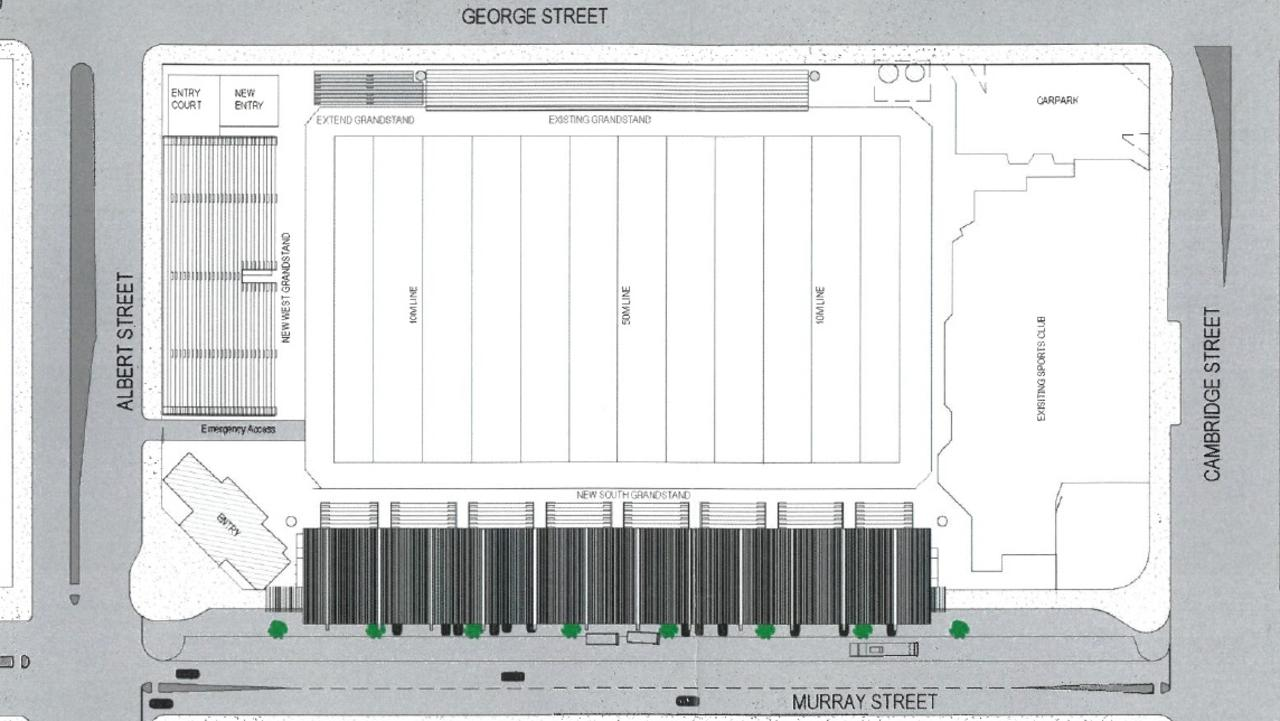 Plan for the stadium upgrade proposal for Browne Park.