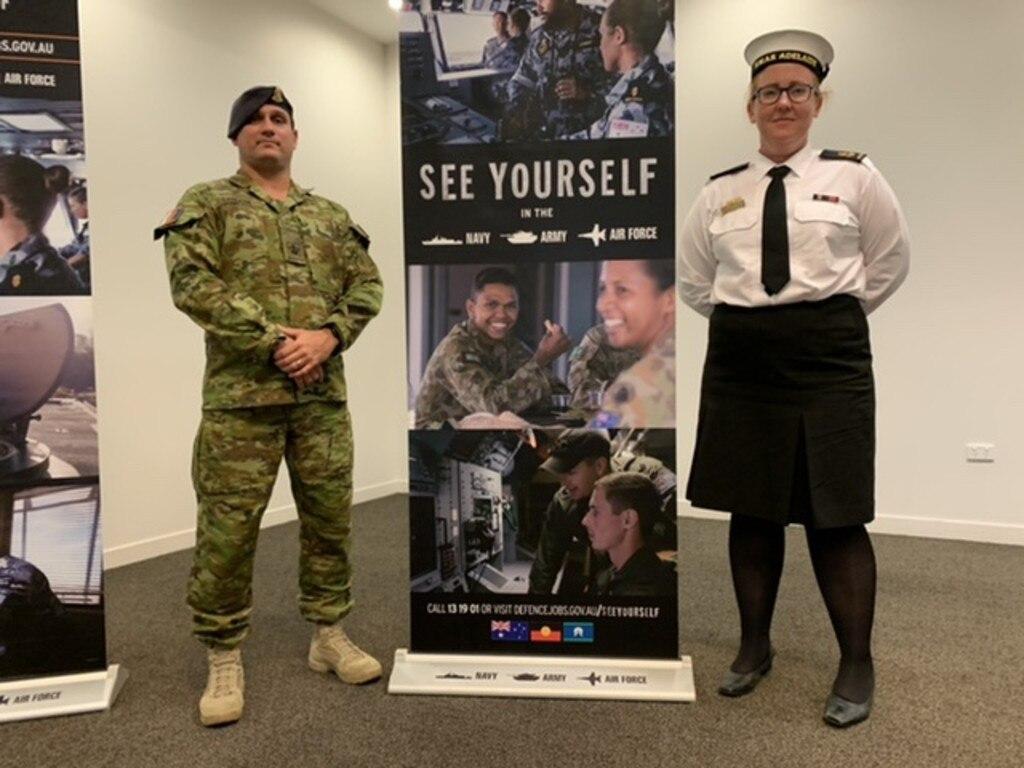 Warrant Officer Class 2 Nathan Sandow (left) and Leading Seaman Lauren Faulke (right)