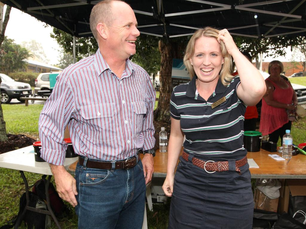 Kate Jones was defeated by Campbell Newman in 2012 (above) before winning the seat of Ashgrove back in 2015