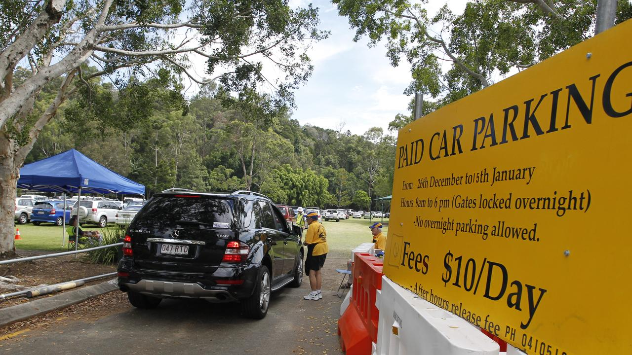 The Noosa Heads Lions Park starts to fill up with cars to handle the peak period overflow.