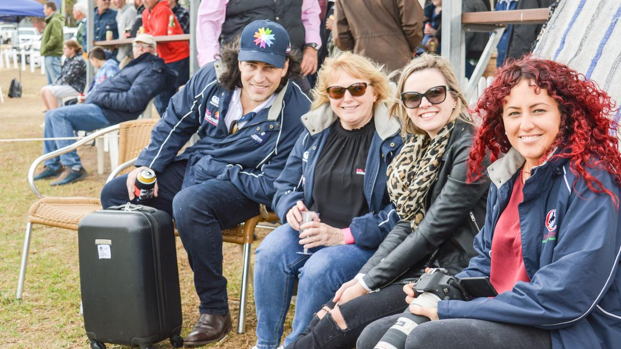 Shaun Mackin, Theresa Acton, Monique Wilkie and Chanelle Robinson at the Warwick Water Rats Ladies Day in 2019. Picture: Elyse Wurm
