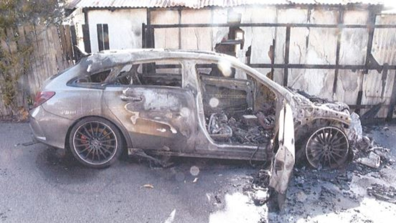 The burnt out Silver Mercedes-Benz. Picture: supplied.
