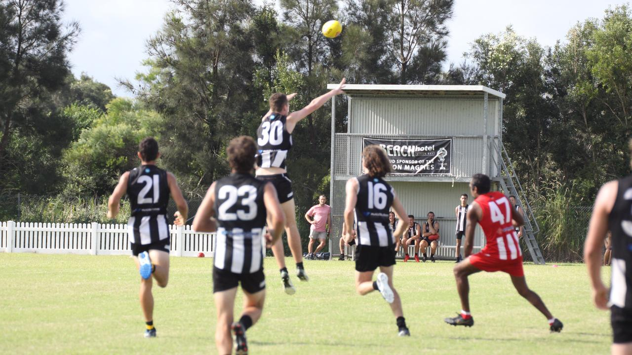 MAGPIE MAGIC: Showing the form which resulted in them winning every category but one in the 2020 AFLQ NR awards, earlier in the season at a practice match at Byron Bay's Cavanbah Centre on Saturday the Magpies overcame the Moorooka Roosters. Photo: Alison Paterson