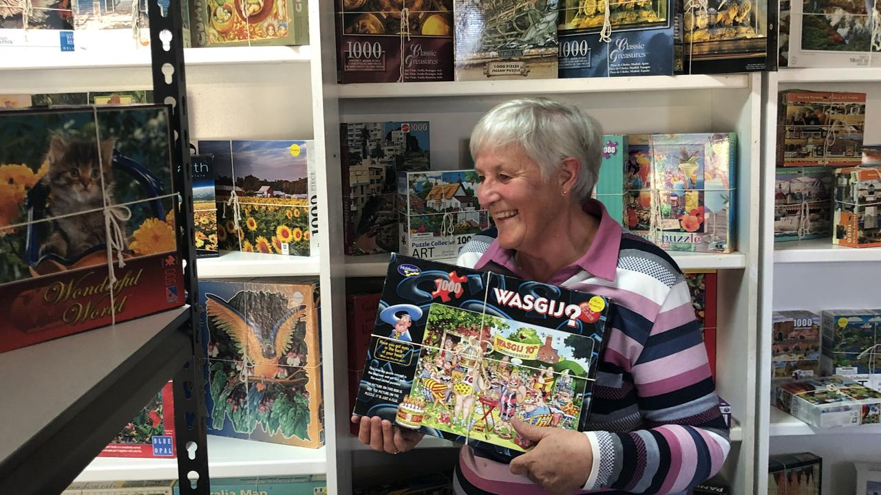 Lyn Willemse with one of her many jigsaws at her Taloumbi exchange.