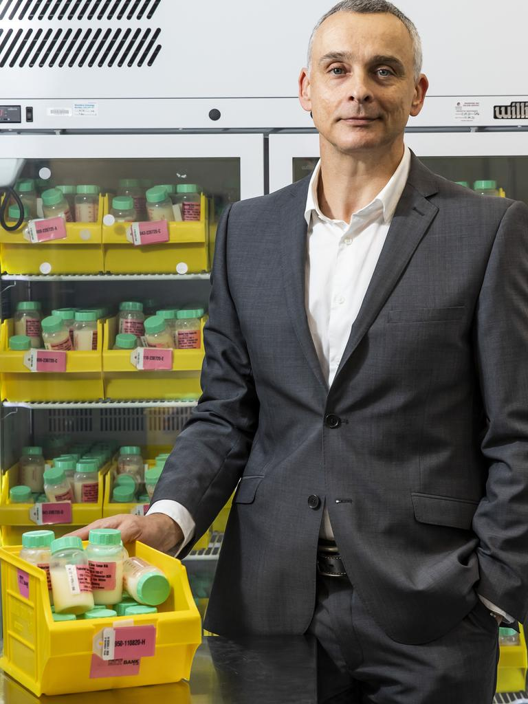 Qld Milk Bank director Pieter Koorts with donated milk supplies at the RBWH. Picture: Mark Cranitch