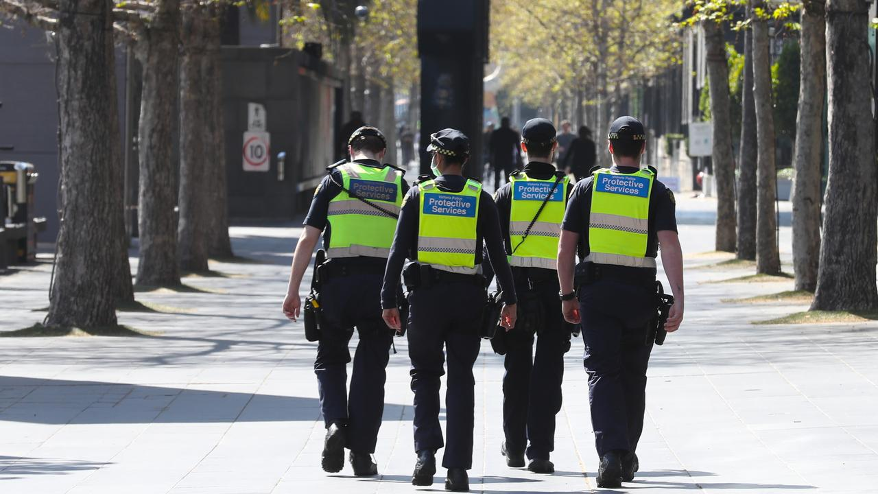 Protective services officers patrol Southbank during stage 4 COVID-19 lockdown in Melbourne. Picture: NCA NewsWire/ David Crosling