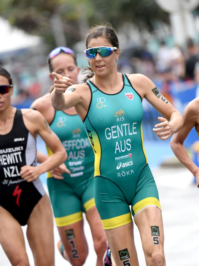 Ashleigh Gentle in action during the Mooloolaba ITU World Cup this year. Picture: Delly Carr.