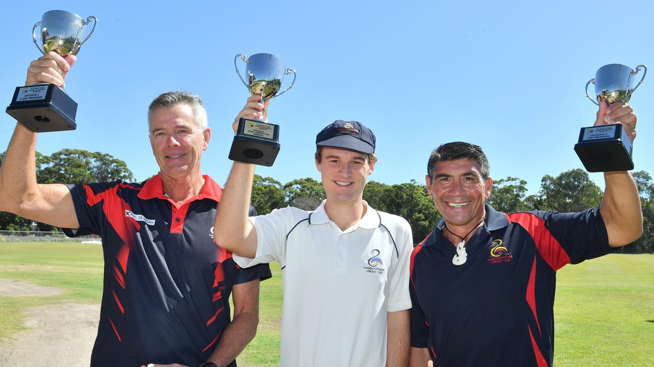 Maroochydore Cricket Club were the champions of 2020 in the 2-day, 1-day and T20 competitions. Coaches Wayne Anderson and Graeme Stewart with captain Blaire Schloss. Picture: John McCutcheon / Sunshine Coast Daily