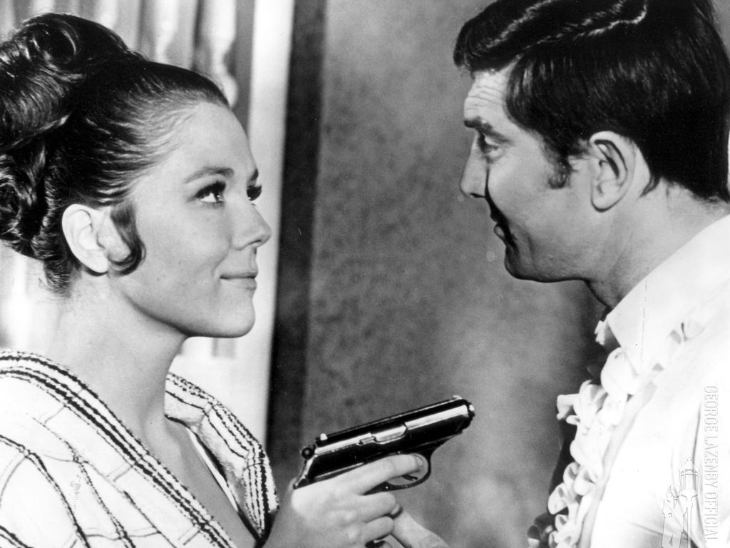 Diana Rigg and Australian George Lazenby in a scene from the Bond film On Her Majesty's Secret Service. Picture: Supplied