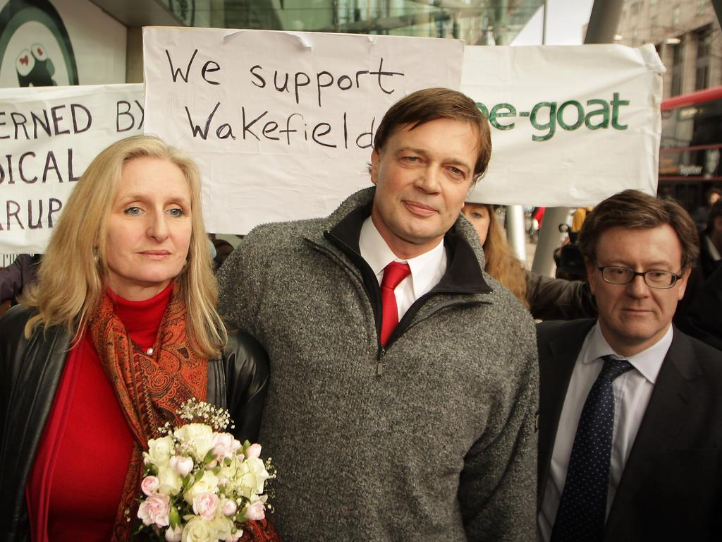 Dr Andrew Wakefield, centre, with his now ex-wife Carmel. Picture: Getty Images