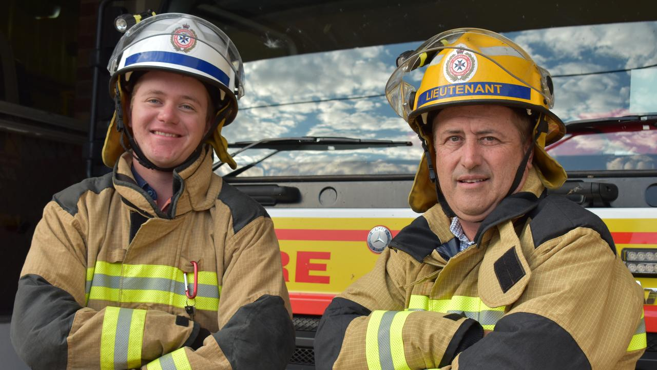 FIREY FAMILY: Dalby auxiliary firefighters Matthew and David Kucks. Picture: Sam Turner