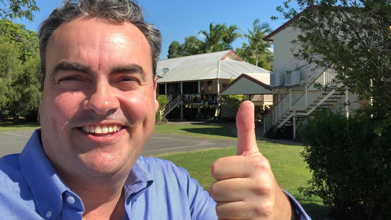 THUMBS UP: NQ First Leader Jason Costigan outside the Gracemere State School where he announced a funding pledge to build a local high school, subject to NQ First securing the balance of power at the State Election.