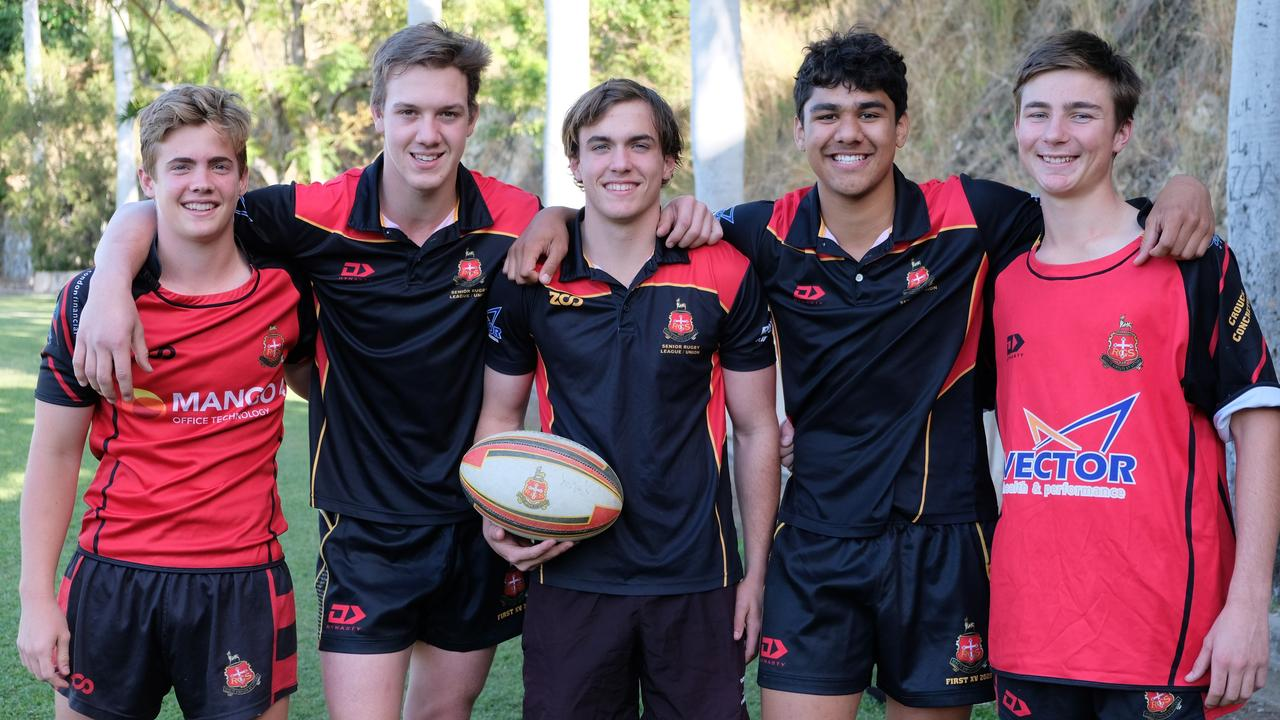 Rockhampton Grammar rugby players (from left) Grady Wight, Spencer Smallacombe, Carter Wight, Nicholas Mata'uiau and Dominic Kallquist will attend the Reds Elite Academy in Brisbane later this month. Photo: Rachael McDonald