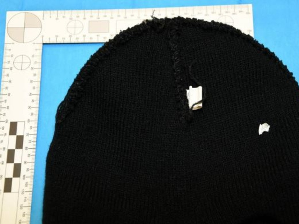 The balaclava seized by police contained vital clues. Picture: supplied.