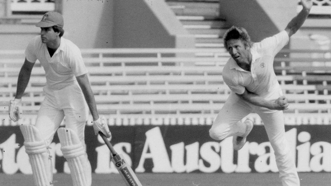 Former Queensland fast bowler Jeff Thomson (right) in action.