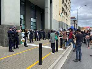 'F*** the police': Protesters block street after jail death