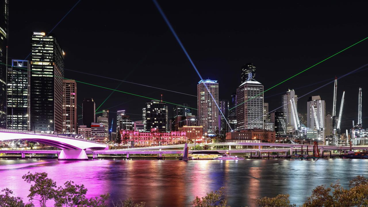 Sunsuper Night Sky lights up along the river during Brisbane Festival. Picture: Atmosphere Photography