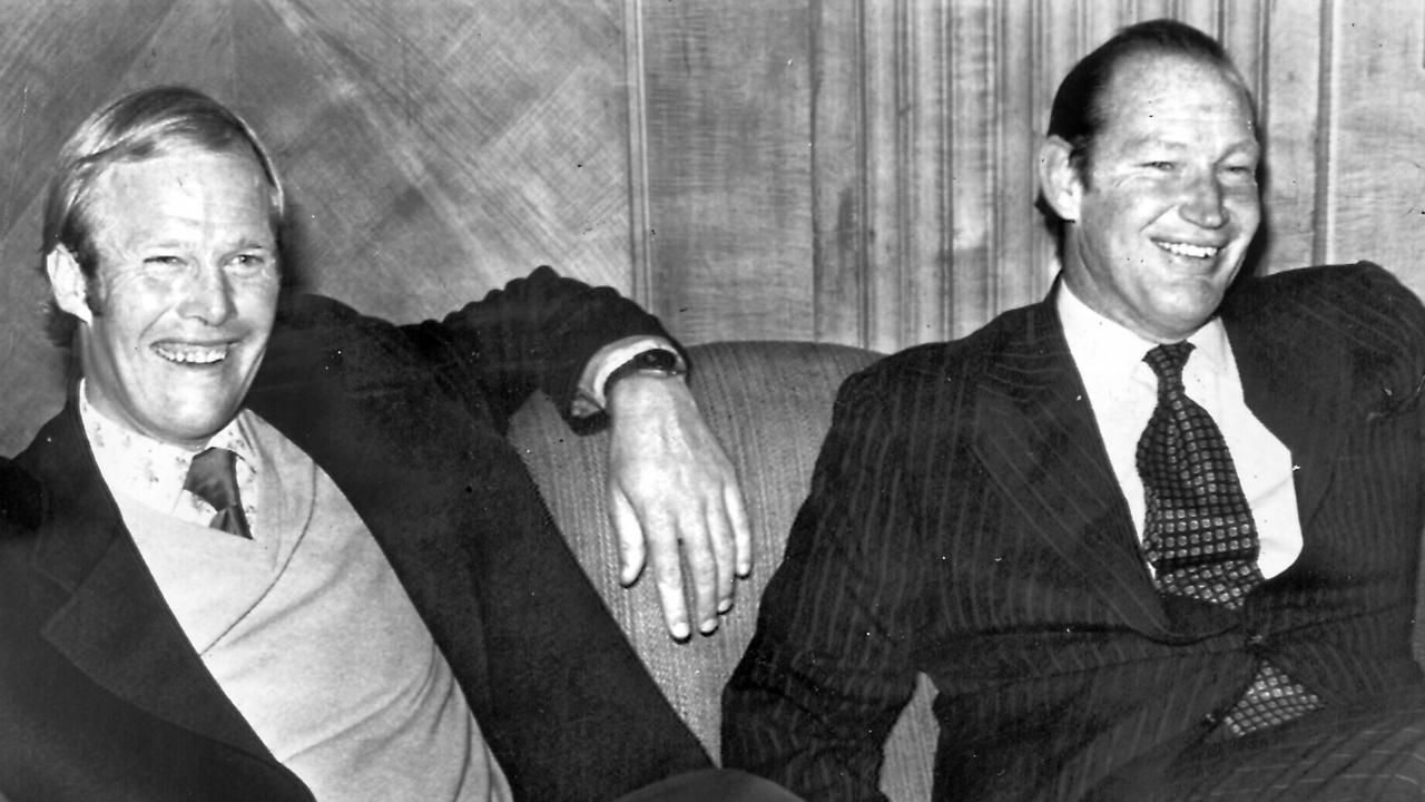 Cricketer Tony Greig with Kerry Packer in London.