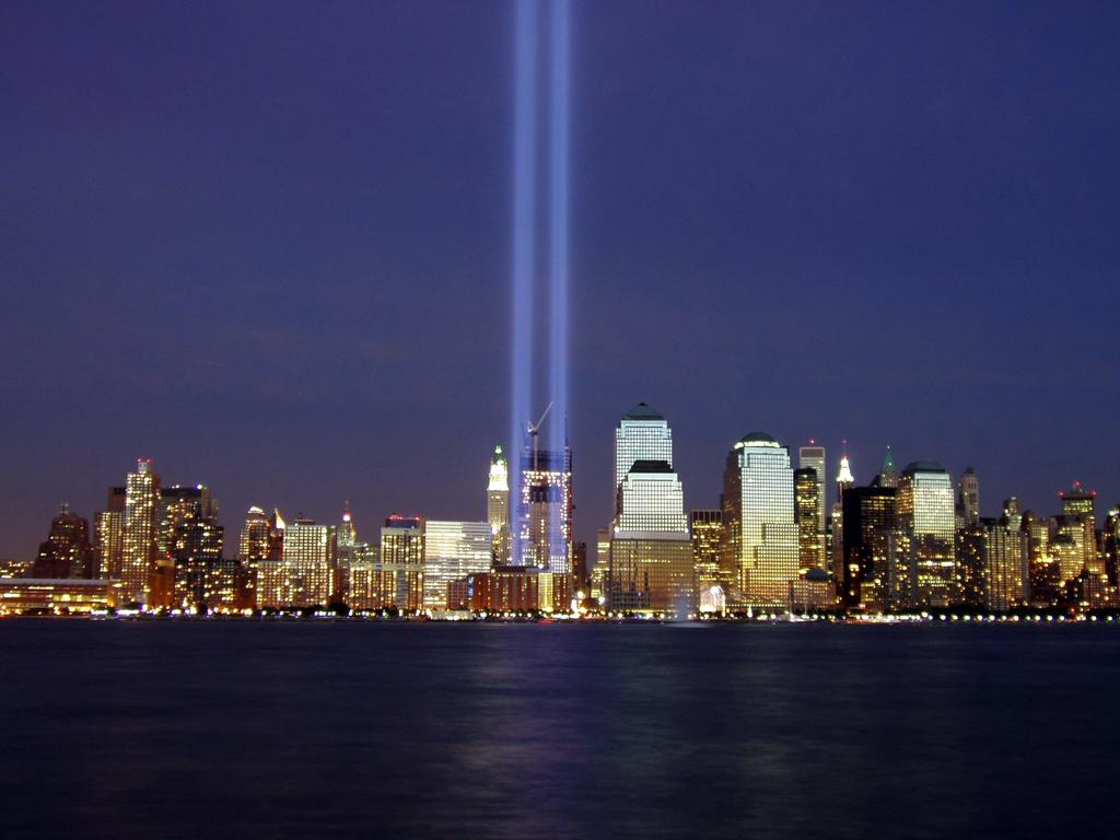 Two beams of light represent the former Twin Towers of the World Trade Centre during a memorial of the September 11, 2001 attacks. Picture: Derek Jensen