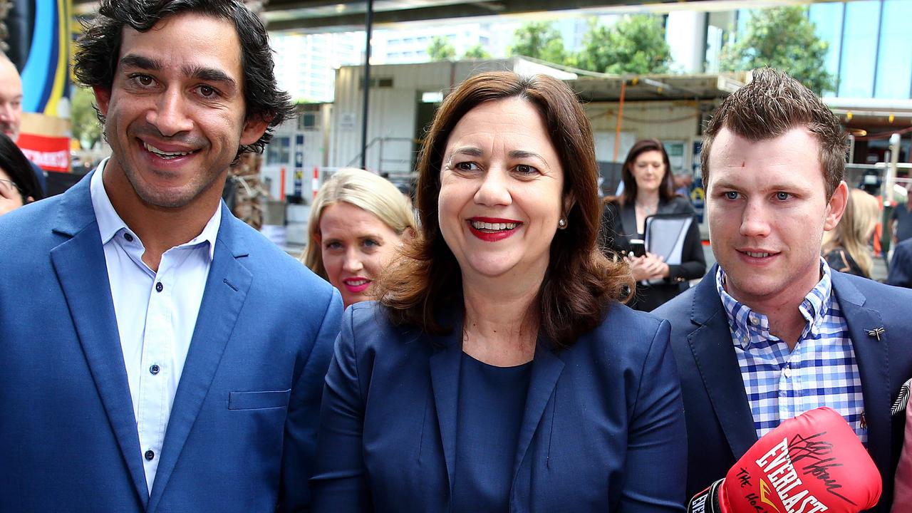 Premier Annastacia Palaszczuk with NRL legend Johnathan Thurston and boxer Jeff Horn in May 2019. Picture: Adam Head