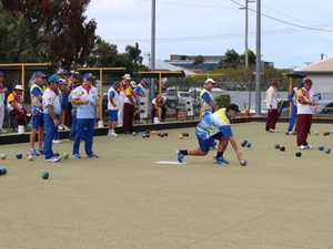 Teams took to the green at the Burnett Bowls Club for