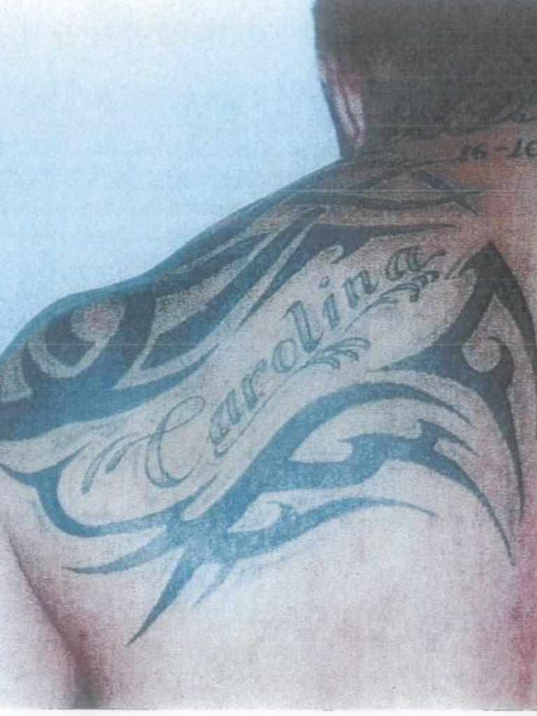 The tattoo bearing his wife's name.