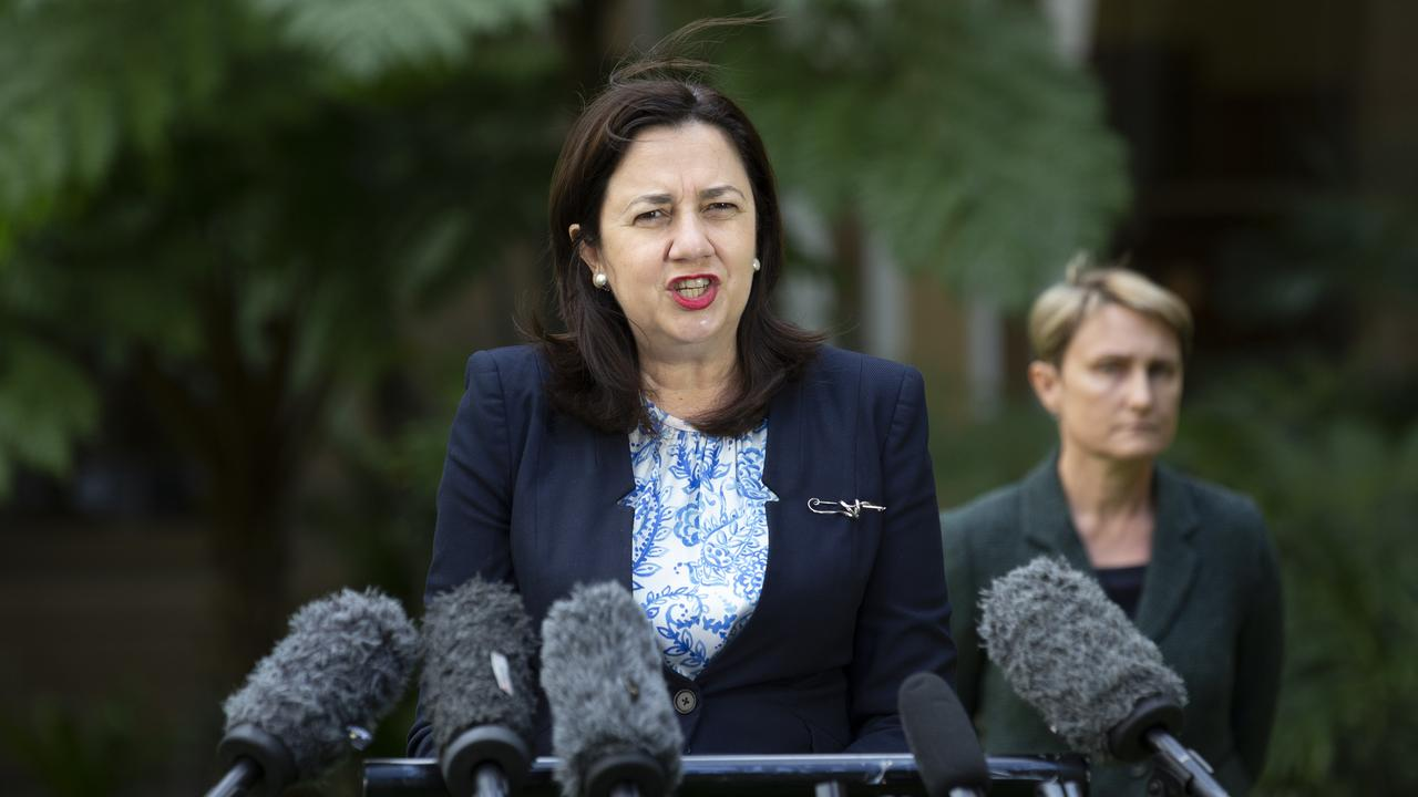 BRISBANE , AUSTRALIA - NewsWire Photos September 11, 2020: Queensland Premier Annastacia Palaszczuk addresses the media at Queensland's Parliament House. Picture: NCA NewsWire / Sarah Marshall