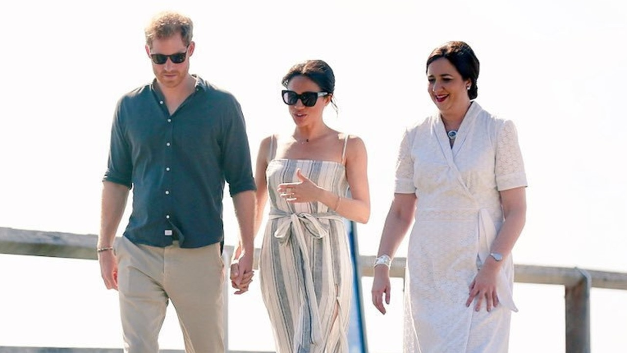 The Premier chats with Prince Harry and his wife Meghan Markle. Picture: News Regional Media