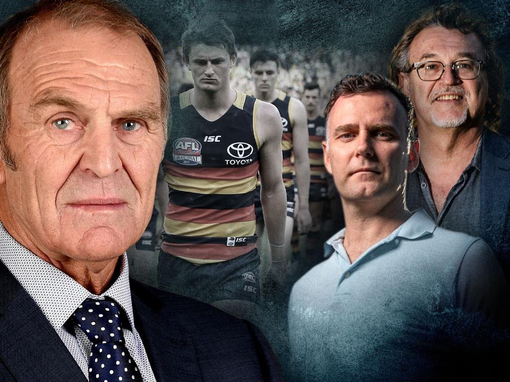 Former Crows coach Graham Cornes interviewed Collective Minds directors Amon Woulfe and Derek Leddie. Artwork: Steve Grice