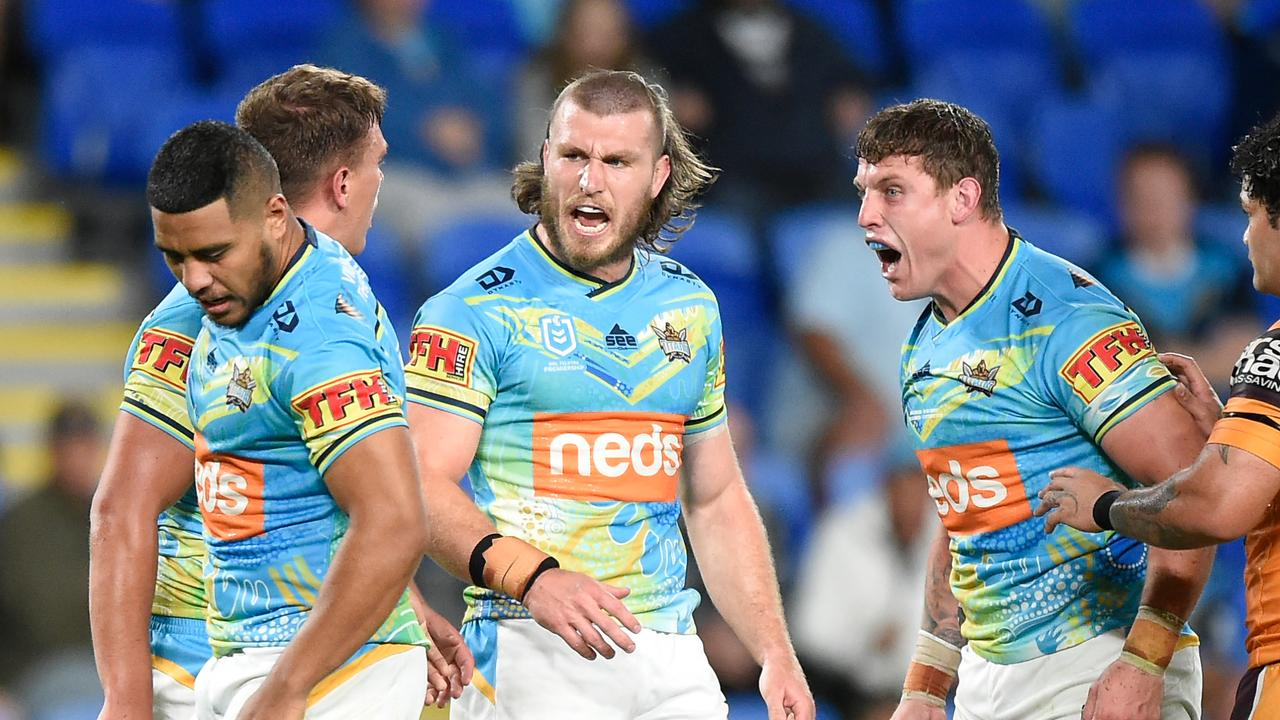 The Titans combined for one of the best team tries of the season. Picture: Getty Images.