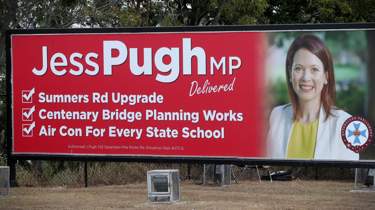 A billboard featuring Mount Ommaney MP Jess Pugh. Picture: Jamie Hanson