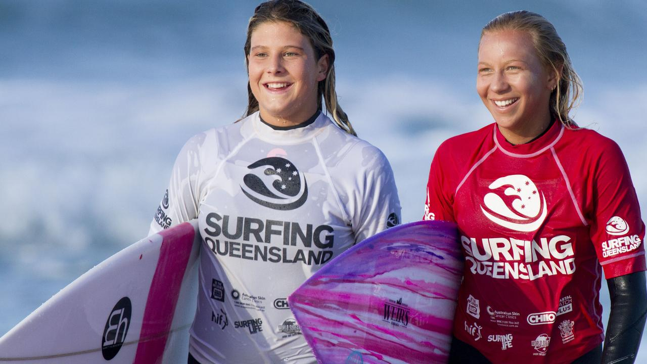 Vittoria Farmer (left) with fellow surfer Jaleesa Vincent.