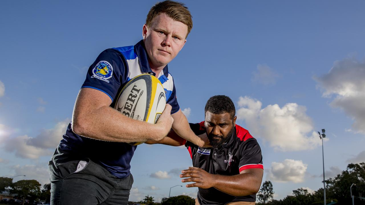 2019 Grand Final rematch between Helensvale and Griffith Uni Colleges. Helensvale captain Scott Stokes and Lesi Tawake from Griffith. Picture: Jerad Williams