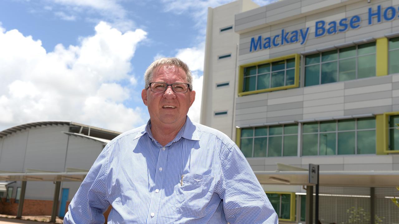 Mackay Hospital and Health Service board chair Tim Mulherin, outside the Mackay Base Hospital.