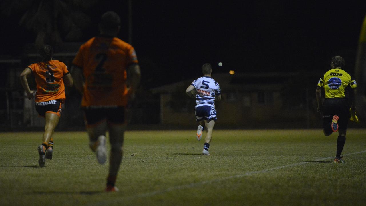 Dylan White streaks away to score after a goal line intercept. Photo: Callum Dick