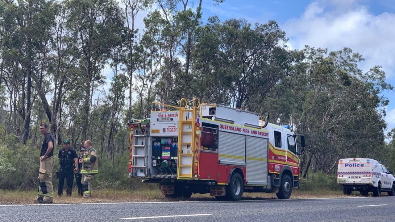 A car caught fire on the Cooloola Coast Rd