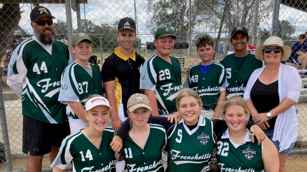 The victorious Frenchville Scorpions team (back row, from left) coach Dean Pakleppa, Jackson Poustie, Josiah Orr, Kellen Crouch, Lachlan Pakleppa, Razeem Raszul, coach Christina Kidd and (front row, from left) Rylea Kidd, Brooke Ryan, Leah Bertram and Leilani Schluter. Photo: Pam McKay